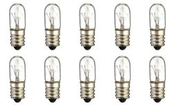 Box of 10 Bulbs 15T4 Incandescent 15 Watt 130V, T4, Candelab