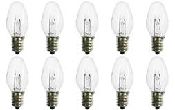 Box of 10 Nightlight Bulbs 7C7, Clear, 7 Watt, 130 Volt, E12