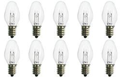 Box of 10 Nightlight Bulbs 7C7, Clear, 7 Watt, 130 Volt, E12