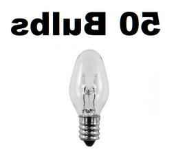 Box of 50 Night Light / Candle Lamp Bulbs -7 watt, C7, Clear