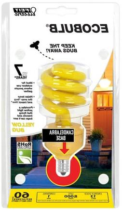Feit BPESL13TC/BUG 13-watt Mini Twist Yellow Bug Candelabra