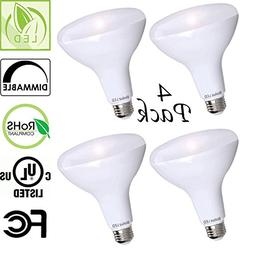4 Pack Bioluz LED SEE Series BR30 LED Dimmable Bulb, 65W Rep