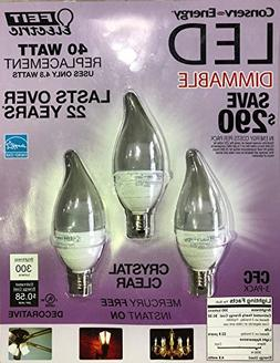 Feit 4.8 Watt = 40 Watts LED Candelabra Light Bulbs 3-Pack 3