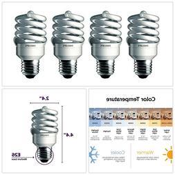 CFL Light Bulbs 4 Pack Spiral Shape 100 Watt Equivalent 6500