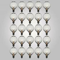 Clear 7-Watt Incandescent G50 Globe Light Bulbs, E12 Base