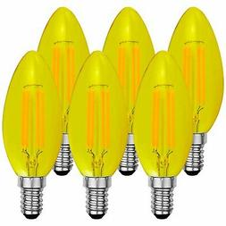 Luxrite Colored LED Yellow Bug Light Bulb 4W LED Filament Di