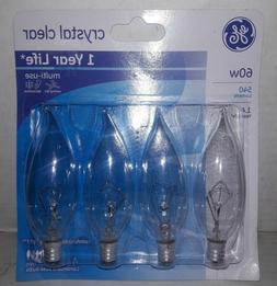 GE crystal clear 60 watt bent tip 4-pack