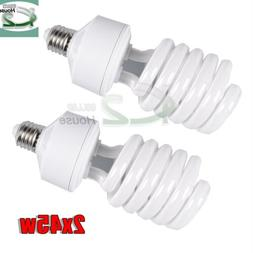 2x45W 5500K Day Light Bulbs Photo Studio Compact Fluorescent
