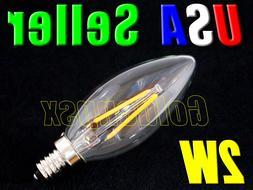 Dimmable 120V AC 2W Warm White LED E12 Base Candelabra Candl