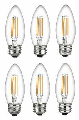 Bioluz LED Dimmable 60 Watt Candelabra Bulbs, Filament LED