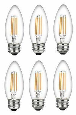 Bioluz LED Candelabra Bulbs, C37 LED Filament Bulbs