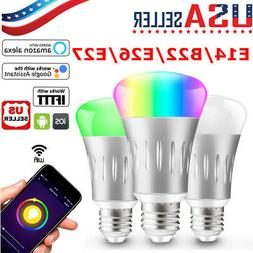 Dimmable E14/B22/E26/E27 RGB LED Wifi Smart Bulb Light Bulbs