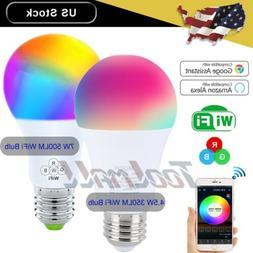 dimmable e27 rgb led wifi smart bulb