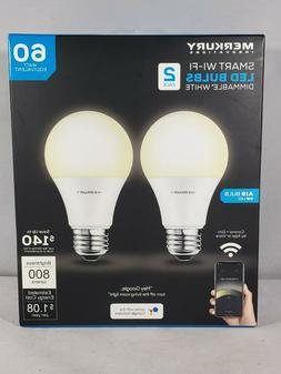 Merkury Innovations Dimmable White Smart A19 Light Bulb, 60W