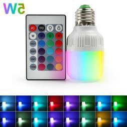 4pcs E27 3W 16 Color Changing RGB LED Light Bulb Lamp+IR Rem