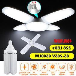 E27 Deformable LED Garage Light 6500lm Radar Motion Ceiling