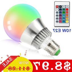 E27 E26 10W RGBW LED Light Bulb 16 Color Changing Globe Lamp