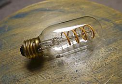 LED Edison Bulb T14, Curved Vintage Style Spiral Filament, 4