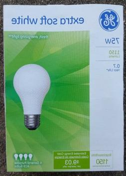 GE Extra Soft White 75 Watt 48671  incandescent