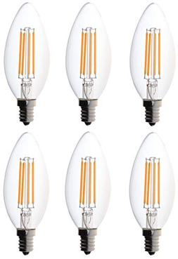 6-pack Bioluz LED™ Filament Candelabra Clear LED Bulbs, E1