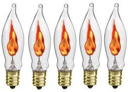 Box of 5 Flicker Flame Light Bulbs, E12 Candelabra Base, 3 w
