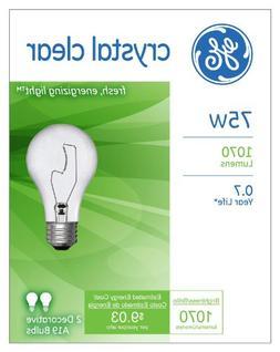 G E LIGHTING #10428 2PK 75W CLR STD Bulb