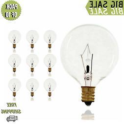 Pack of 10 40-Watt G16.5 Decorative Globe E12 Candelabra Bas