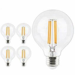 4x Globe Clear Led Filament Light Bulb 7W Round G25 E26 Base