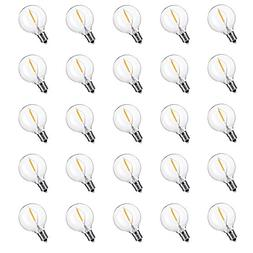 25-Pack LED G40 Replacement Bulbs, E12 Screw Base LED Globe