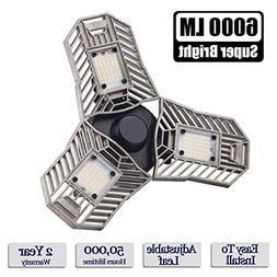 LED Garage Lights, 60W E26/E27 6000LM Deformable Ceiling Lig