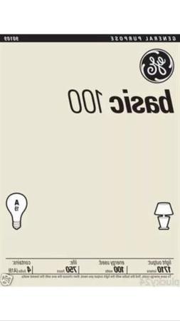 8 Pack 100 Watt GE Basic General Incandescent Light Bulbs -