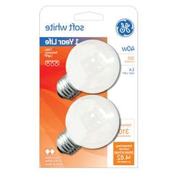 Ge Decorative Globe 40 W 330 Lumens G16.5 Med Base 3 In. Whi