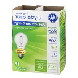 GE 78798-12 Halogen Crystal Clear A19 Bulb, 72-Watt, 2-Pack