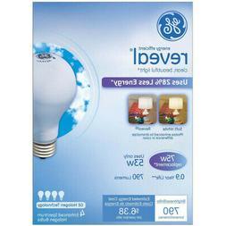 GE Light Reveal Halogen Bulb, 75 W - 4 pack