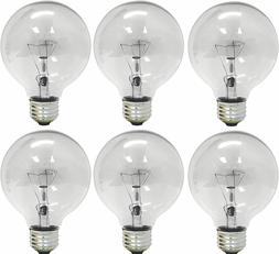 GE 12980-6 40 Watt Globe G25 Light Bulb, Crystal Clear, 6-Pa