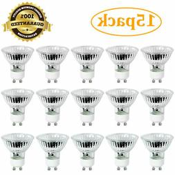 |15-Pack| GU10 50W 120V Halogen Flood Light Bulb Dimmable In