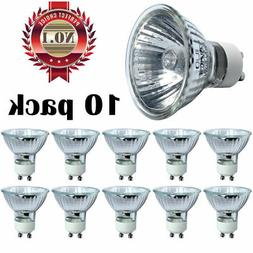 10 x 50W 120V GU10 Flood FL w/ Front Glass Halogen Light Bul