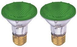 Bulbrite H50PAR20G 120V 50W PAR20 Halogen Light, Green - 2 P