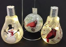 Hanging Glass Cardinal Ornament~2 Lighted Christmas Bulbs~Sn