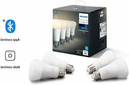 Philips Hue White 4-Pack A19 LED Smart Bulb Bluetooth & Zigb