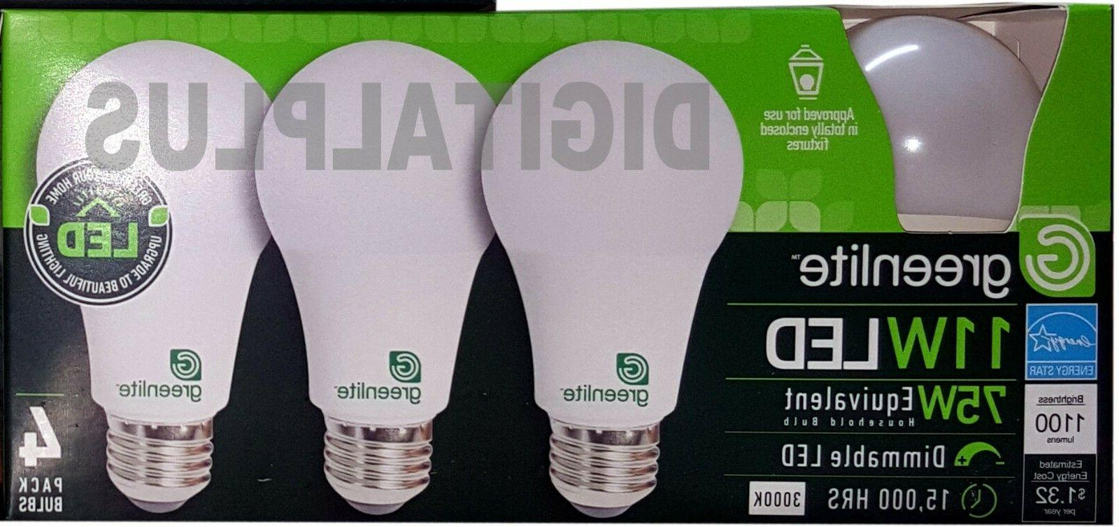 12 GREENLITE Equivalent 11w Warm 3000K A19 Dimmable