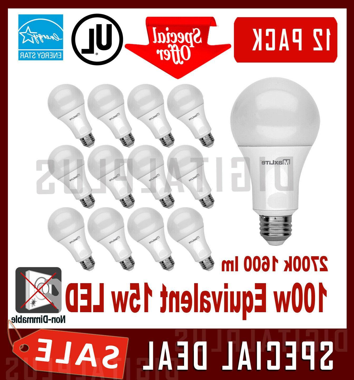 12 Pack LED Light Bulbs MAXLITE 15W 1600L Soft White 2700K A