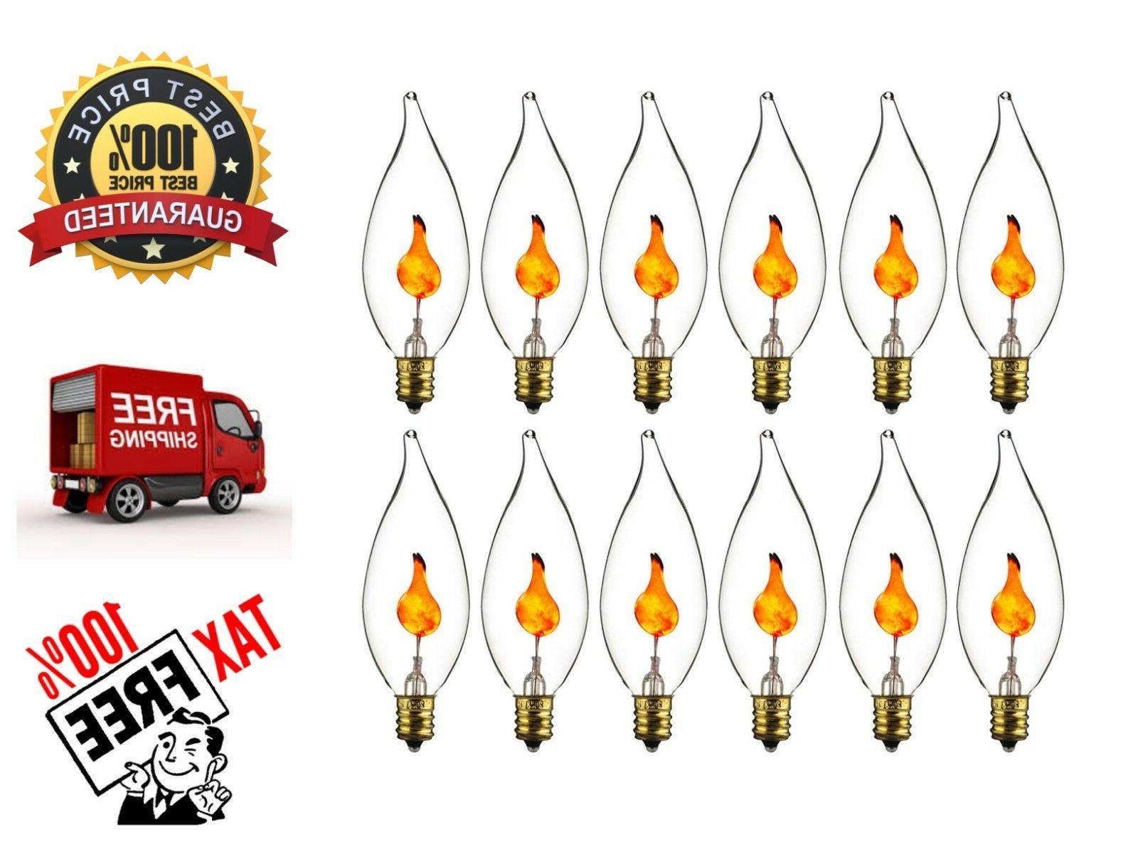 12x Flame Light Bulb Flicker Edison E12 Candelabra Base Flic