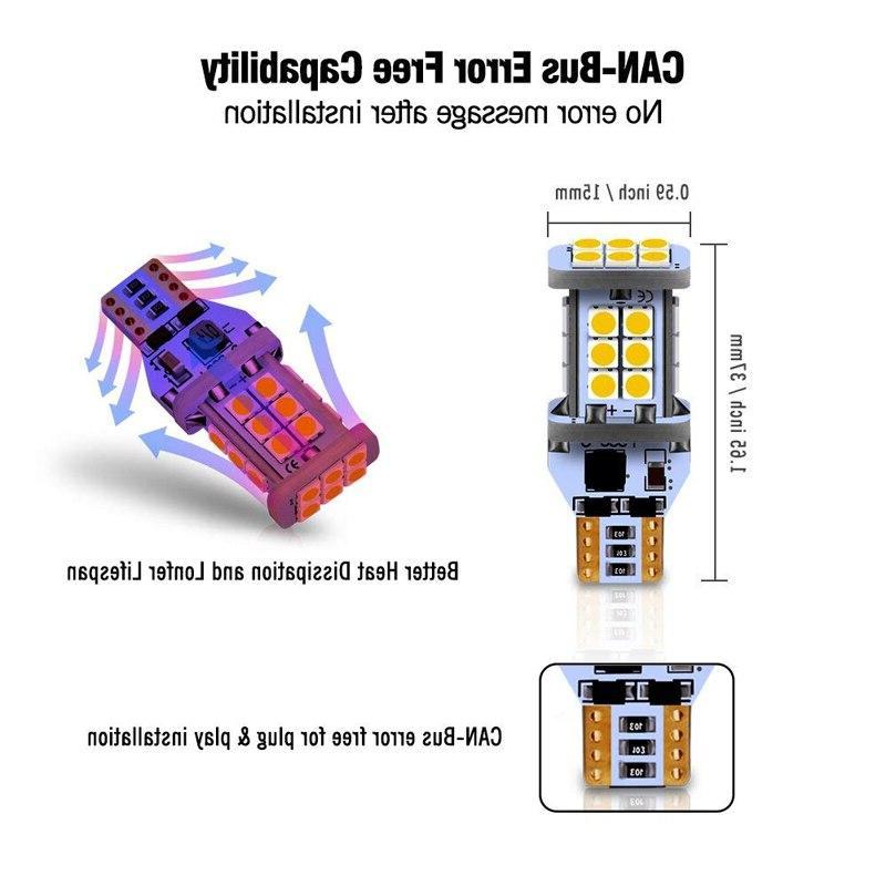 1300 Lumens Error 3030 24SMD Reverse Lights Back Up Lights 6500K White