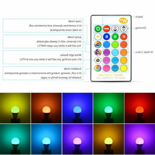 2 PCS Color Changing Remote Dimmable LED Light Bulb Base