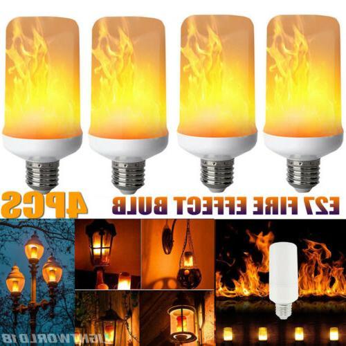 4PCS E27 LED Flicker Flame Light Burning Fire Bulbs Effect F
