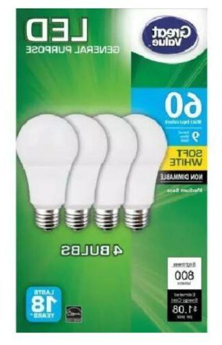 Great LED A19 60W Only 9W Non-Dimmable White
