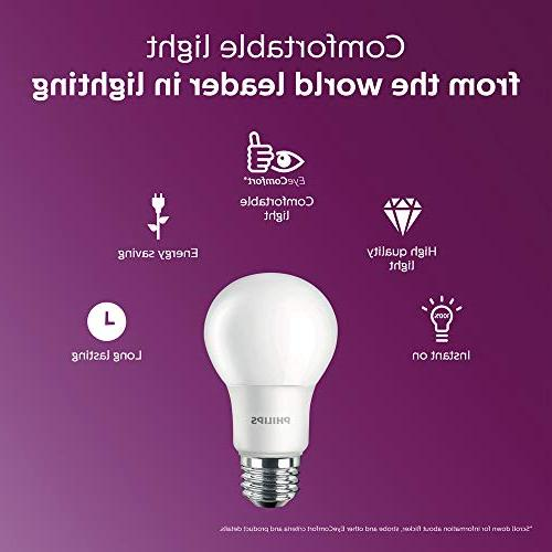 Philips LED Non-Dimmable A19 Frosted 1500-Lumen, 5000-Kelvin, , Medium Base, 4-Pack,