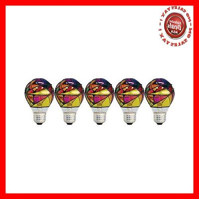 GE Lighting 46645 Party Light 25-Watt Stained Glass A19 Ligh