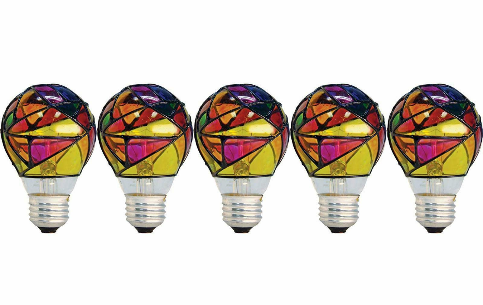 46645 party light 25 watt stained glass